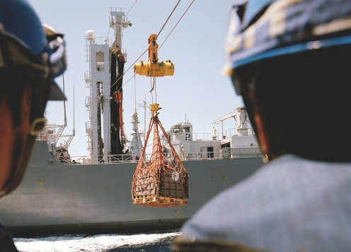 Replenishment of a ship at sea
