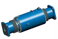Large hydraulic lalde turret cylinder