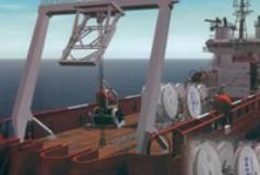 Telecommunication cable-laying ship