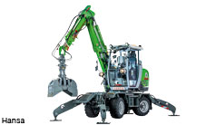 Municipal and cemetery excavator maneuvers with Rexroth hybrid hydraulics