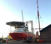 Fugro Synergy geotechnical drilling vessel undergoing maintenance in drydock